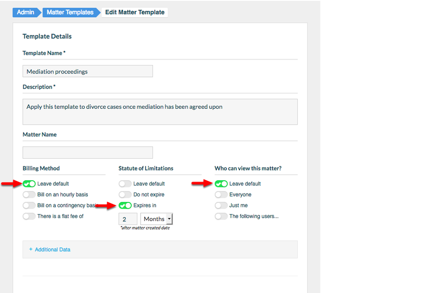 5.  Determine if the Matter Template will override existing Billing settings