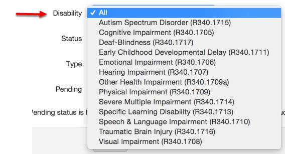 Optional Filter: Disability