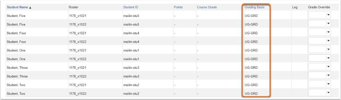Course Grades Grading Basis