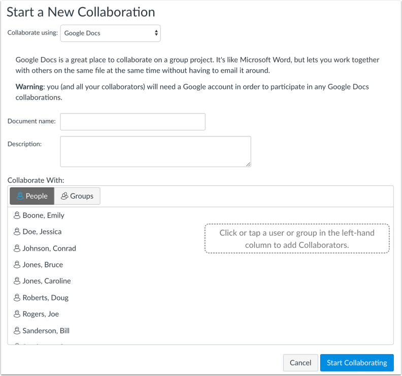 View Google Docs Collaborations