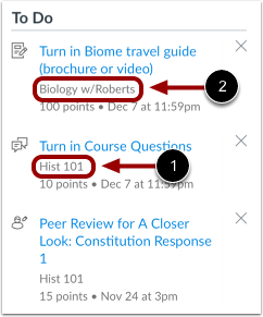 View Sidebar Course Items