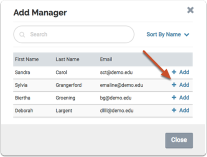 "Click ""Add"" to add the user as manager for the committee"