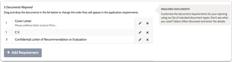 Add required documents