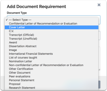 Select the document type from the dropdown list