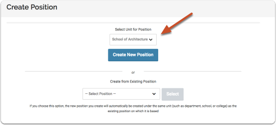 Select the unit for the position you are creating