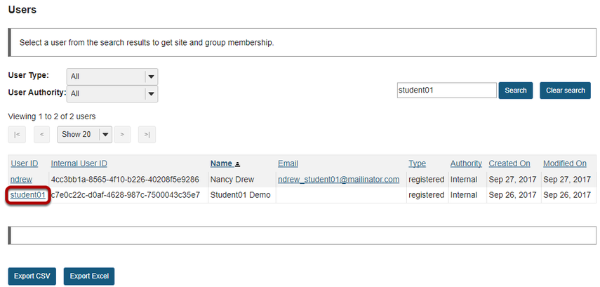 Click on a User ID to see site and group membership for that user.