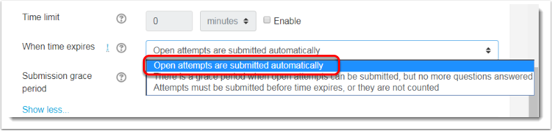 'Open attempts are submitted automatically' is selected