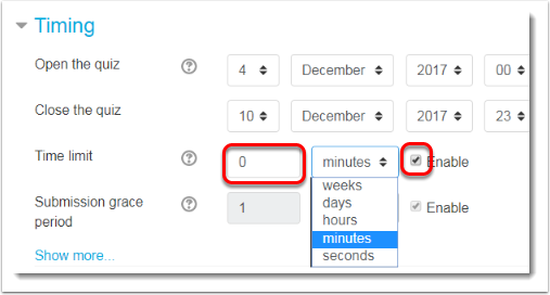 Minutes selected from dropdown menu.