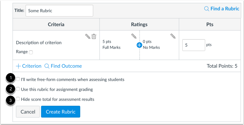 Select Rubric Settings
