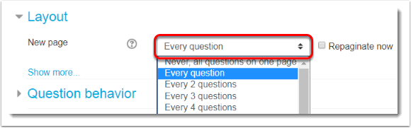 Select how many questions to display per page.