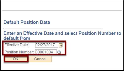 Default Position Data