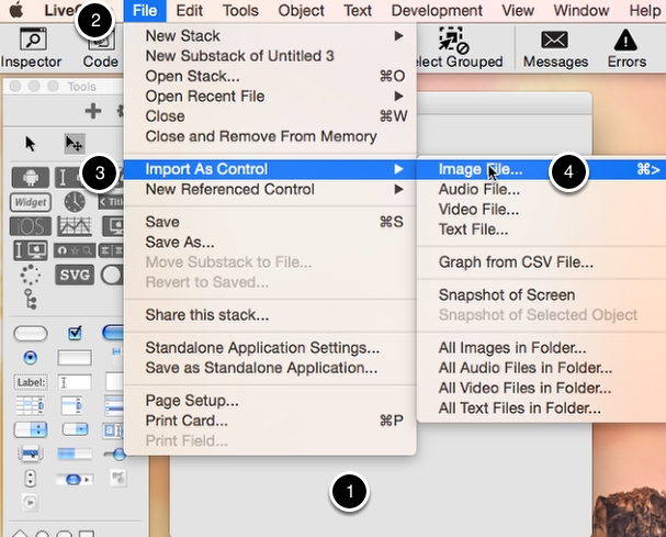 Start by creating a stack and importing your png image