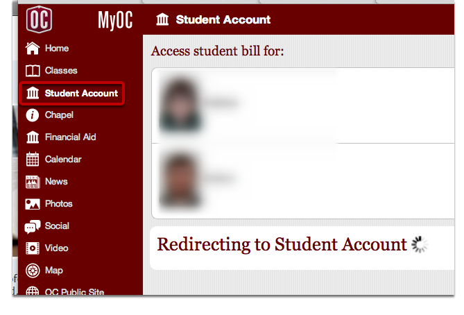 "Click on the ""Student Account"" Tab on the Left"