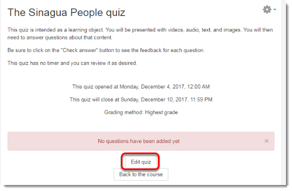 Click on Edit quiz.
