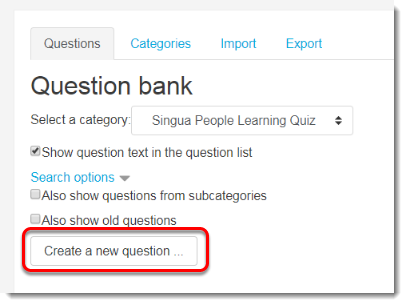 Create a new question is selected.