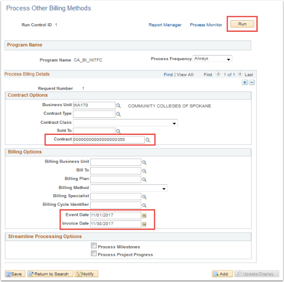 Process Other Billing Methods page