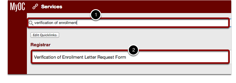 "Find ""Verification of Enrollment Letter Request Form"""