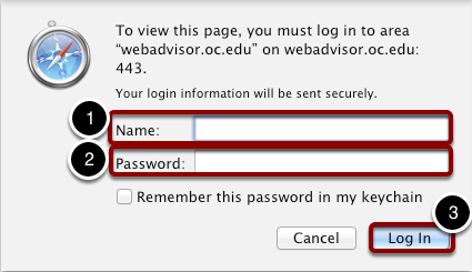 Enter OC Network Username and Password