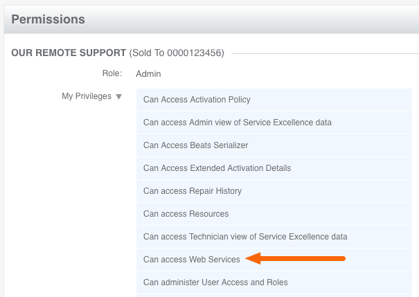 GSX Permissions: Can access Web Services