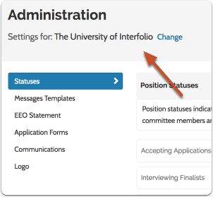 Overview of the Administration page