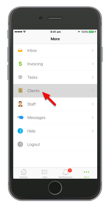 Tap Clients under More tab