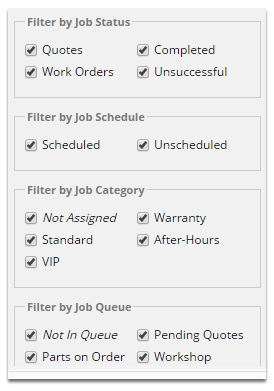 Tick and untick the options available to create your desired job filter - not the job list on the right will adjust as you make changes, so you will know when you have the right settings.
