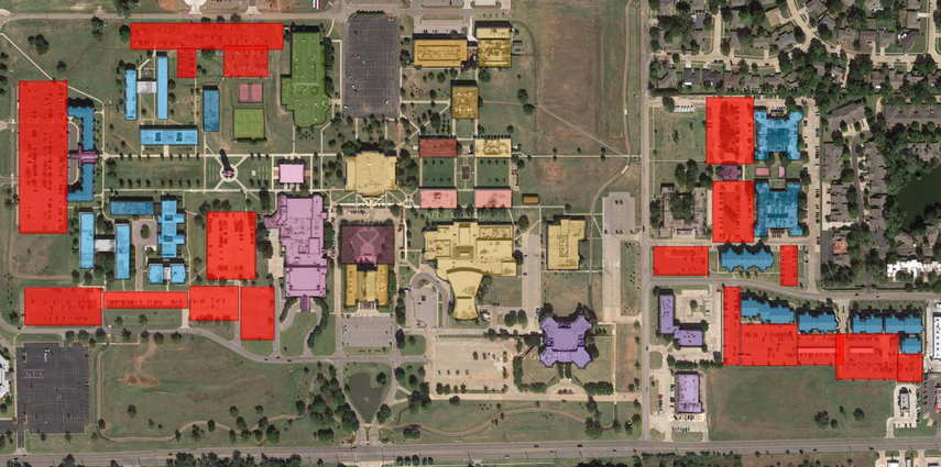 Parking Locations Before 5:00 PM (in Red)