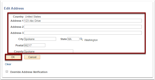 Edit Address section