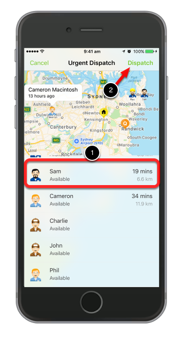Urgent dispatch allows you to see which staff member is available to take the job and conflicting bookings.
