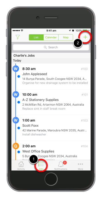To create a new job, go to Jobs tab and tap ( + )