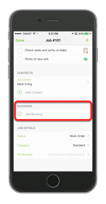 In the job view, scroll down then under the Bookings, tap Add Booking