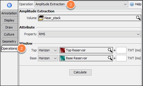Select amplitude extraction operation