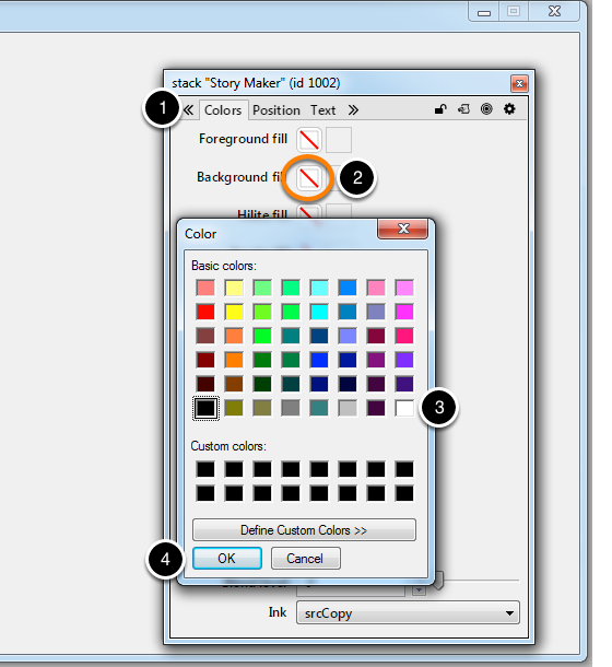 Setting the stack background colour