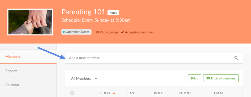 add member on group page