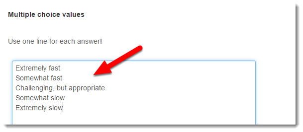 answer choices field is selected.