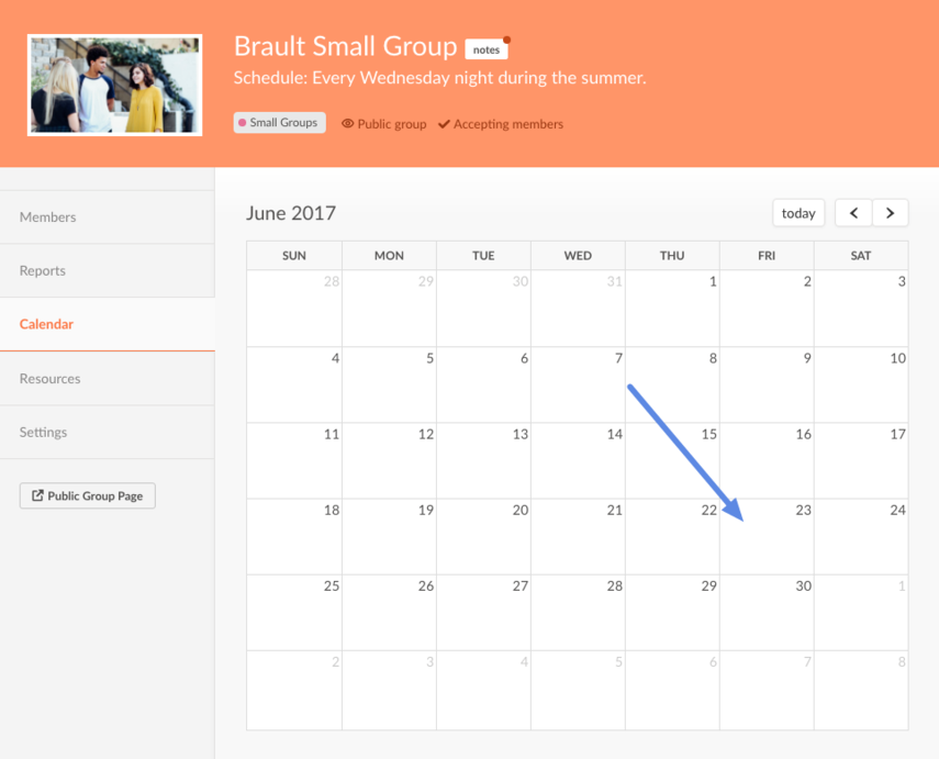 choose a date on the calendar