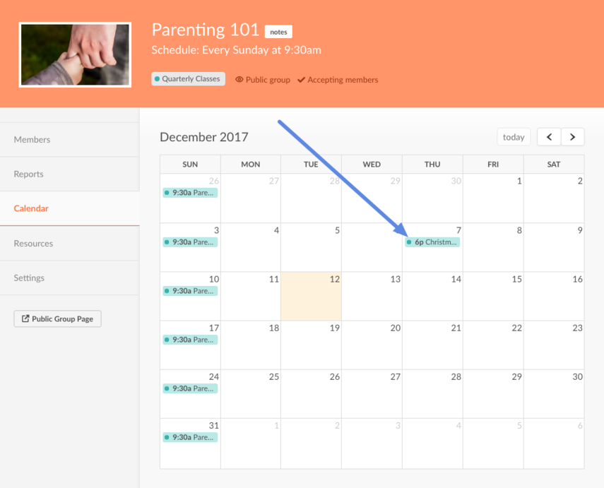 Calendar page pointing to event