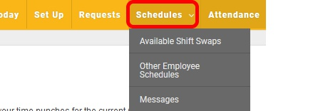 Get to the Shift Swap Page on the Schedules Tab