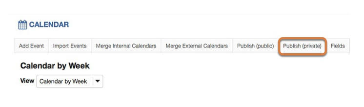 To publish a calendar publicly, select Publish (private) in the gray menu bar near the top of the page.