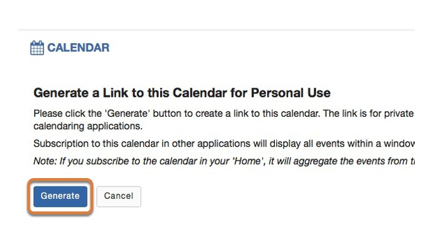 Select Generate to generate the URLs for the calendar subscription.