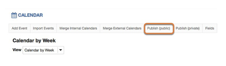 To publish a calendar publicly, select Publish (public) in the gray menu bar near the top of the page.
