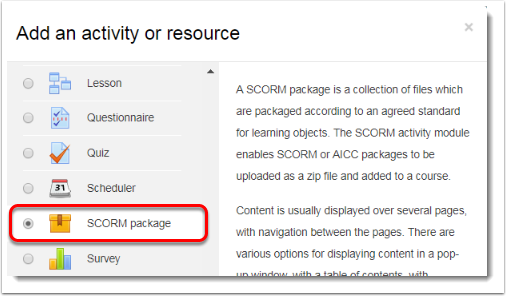 SCORM Package Is Selected