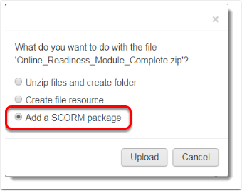 Add a SCORM package is selected.