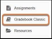 Gradebook Classic tool in menu