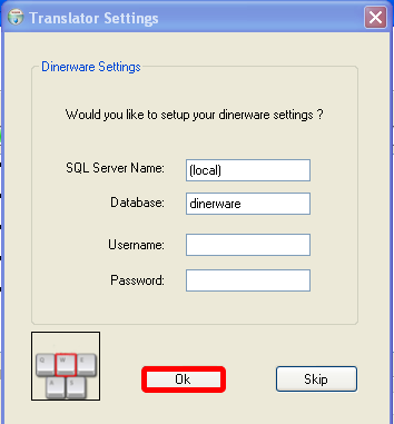 Configure the Dinerware connection settings.