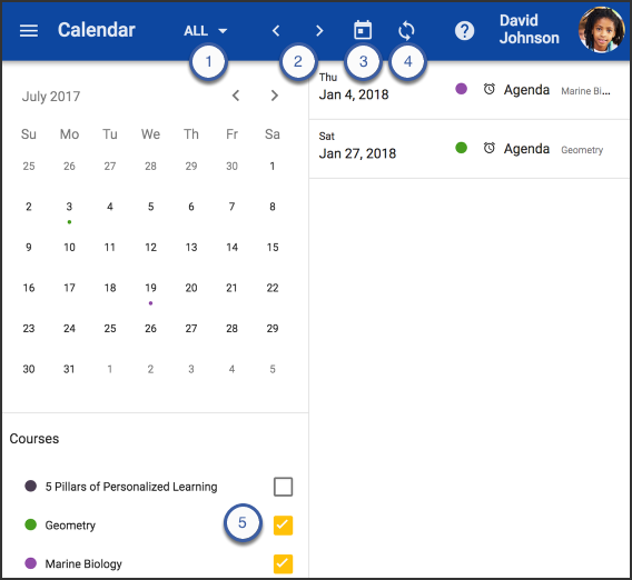 This image shows the Calendar screen and highlights the steps previously mentioned.
