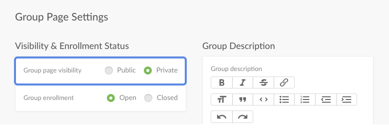group page settings