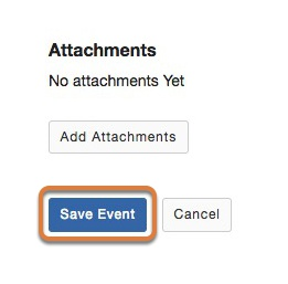 Save your event.