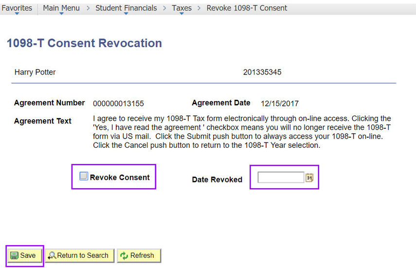1098-T Consent Revocation page