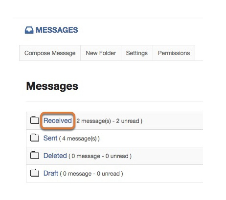 Open the Received Messages Folder